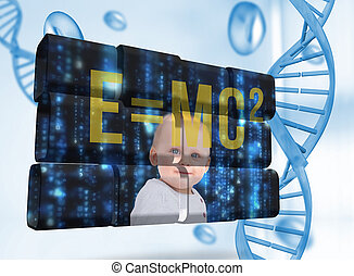 Composite image of baby genius on abstract screen - Baby...