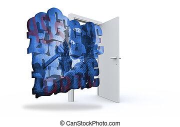 Composite image of burglar on abstract screen against door...