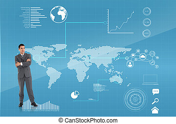 Composite image of businessman with arms folded -...