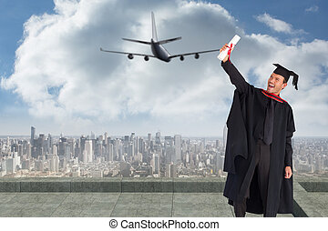 Composite image of delighted boy celebrating his graduation...