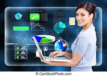 Composite image of cheerful businesswoman using a laptop -...