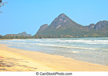 Low tide in the beautiful bay of Manao Ao Manao in Prachuap...
