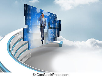 Businessman in data center on abstract screen against blue and white structure in the sky