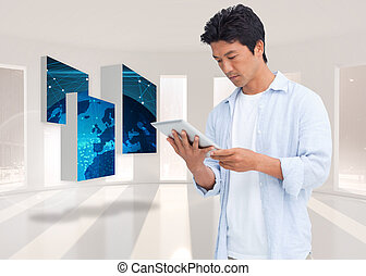 Composite image of male looking at his tablet computer -...