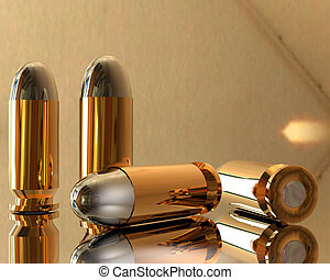 3D bullets - bright 3D golden and silver bullets in hdri