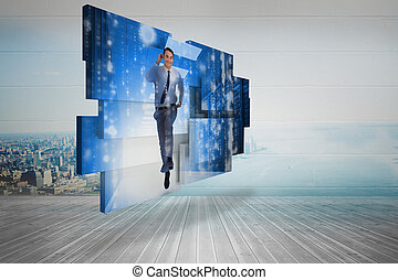 Businessman in data center on abstract screen against city scene in a room
