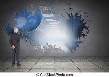 Composite image of rear view of mature businessman posing -...