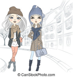 Vector beautiful fashion girl in old town - Beautiful...
