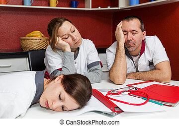 nursing staff suffering from burnout - concept tired nursing...