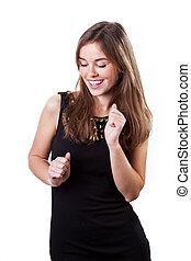Dancing woman - Portrait of beautiful dancing woman on...