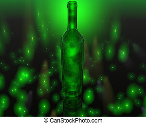 3D green wine bottle on colorful background