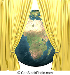 earth with golden drapery on a white