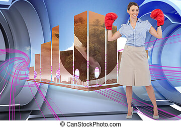 Composite image of buisnesswoman posing with boxing gloves