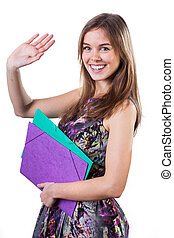 Farewell - Young student in colorful dress waving hand in...