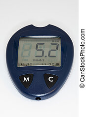 Glucose meter with reading. - Glucose meter for the testing...