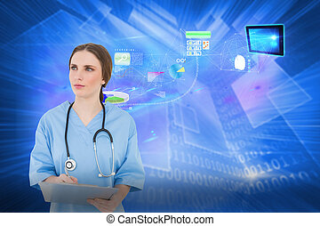Composite image of thoughtful female doctor holding a...