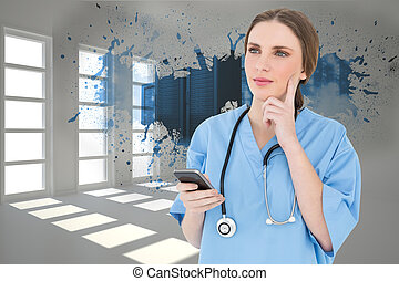 Composite image of young woman doctor thinking - Young woman...