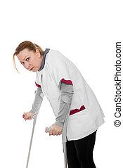 female revised nurse is limping, isolated on white