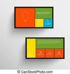 Modern business card template with flat mobile user...
