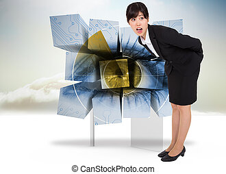 Composite image of surprised businesswoman bending -...