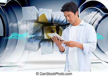 Composite image of male looking at his tablet computer