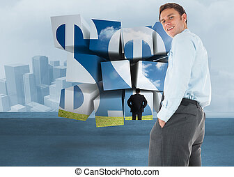 Happy businessman standing with hands in pockets against cityscape in the fog