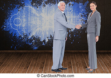 Composite image of businessman and - Businessman and woman...