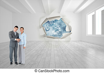 Composite image of business partners with clipboard