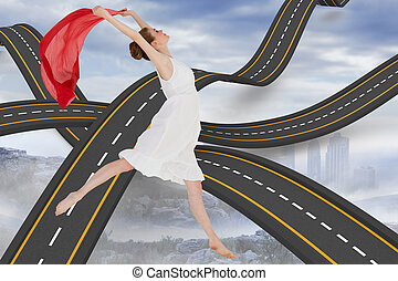 Composite image of young beautiful female dancer with red...
