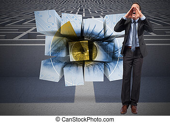 Composite image of shouting businessman - Shouting...