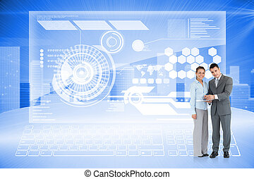 Composite image of business partners with clipboard -...