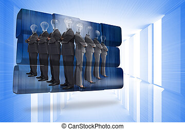 Light bulb business people on abstract screen against bright blue room with windows
