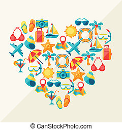 Travel and tourism background of icons in heart shape.