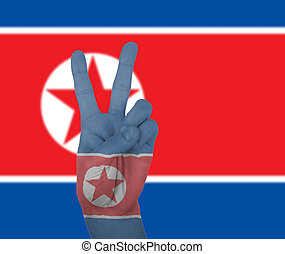 Hand peace sign with flag of North Korea - Hand peace sign,...