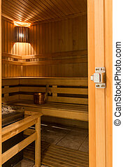 Interior of finnish sauna - Interior of hot finnish sauna...