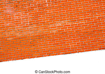 wall is in inclination - brick wall with a white bar