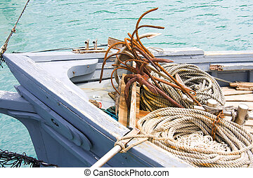 Fishing boat - Tools of trade: bow of a fishing boat with...