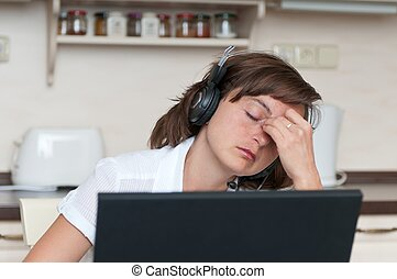 Business woman with headache - Young business person with...
