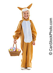 Child as easter hare with eggs - Child dressed as easter...