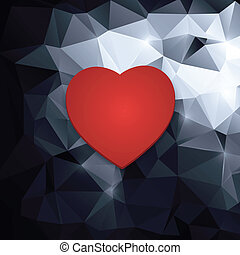 red heart on an abstract background. - red heart on an...