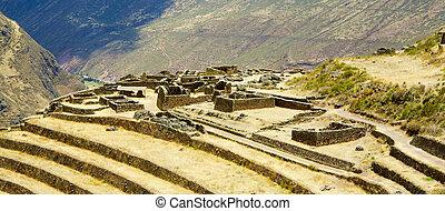 Inca ruins - Overlook of Pisac Inca ruins near Cusco, Peru
