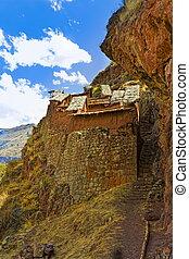 Inca ruins - Ancient Inca ruins at Pisac near Cuzco, Peru