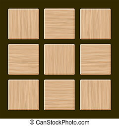 Set of Blank Wood Box. Vector Illustration.