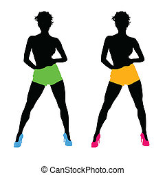 beautiful girls color vector silhouette illustration