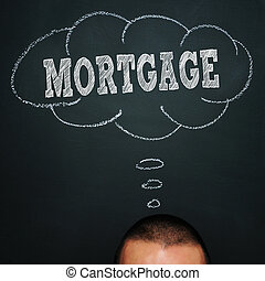 mortgage - a man over a blackboard with a thought bubble...
