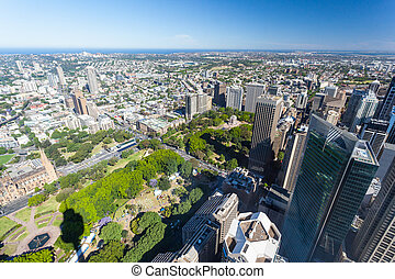 Aerial View of Sydney Looking Towards Hyde Park - A clear...
