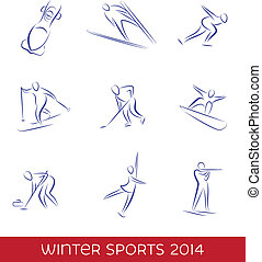 Winter sports icon set. EPS 8 vector.