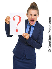 Frustrated business woman showing paper sheet with question...
