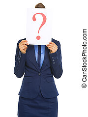 Business woman hiding behind paper sheet with question mark