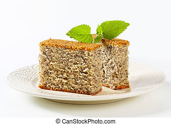 Poppy Seed Cake - Pieces of poppy seed cake